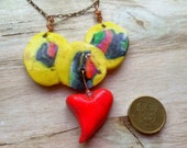 Trinity Heart - You lighten up my Life - Valentine Necklace / Polymer Clay and Copper Chain