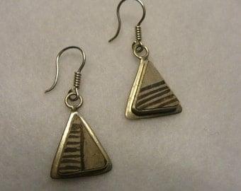 Native American Anasazi Pottery Sterling Silver Earrings