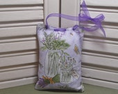 """Lavender sachet, wildflowers, mason jars, small hanging closet sachet, 3"""" by 4 1/2"""", filled with 100% dried lavender for a lovely aroma"""