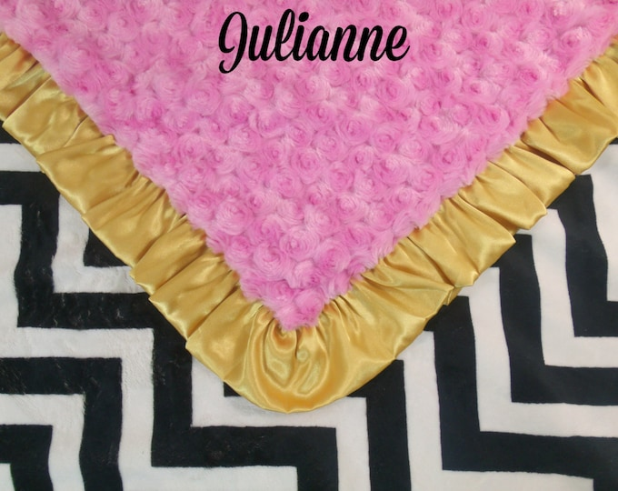 Black Chevron, Medium Hot Pink and Gold Ruffle Minky Baby Blanket,  3 sizesCan Be Personalized