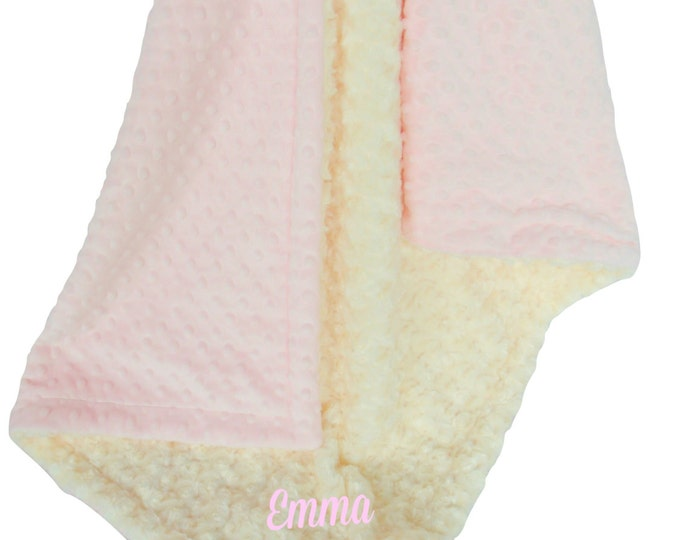 Pink and Ivory Minky Dot Baby Blanket, Pink Minky Dot and Ivory Cream Swirl Minky Baby Blanket, Can Be Personalized
