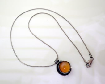 Danish Modern Style Necklace - Amber Glass - Moon Motif - Sterling Silver