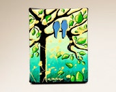 Lovebirds Acrylic Miniature Painting on Canvas, Blue Bird Animal Art, Whimsical Tree of Life Art, Green 5x4