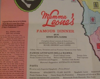 Vintage 1967 Mamma Leone's Restaurant New York City Souvenir Foldout Menu with Map of Italy
