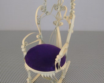 Vintage Ornate Victorian Small Metal Rocking Chair Pin Cushion or Dolls Chair with Purple Velvet Pad, 7 Inches Tall