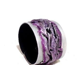 50% OFF SALE Metallic colors stylish leather cuff bracelet. Leather jewelry