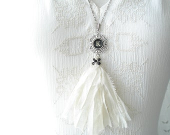 Typewriter Key Necklace. Letter K Necklace. Vintage Typewriter Key Jewelry. Long Sari Silk Tassel Boho Beaded Necklace. Eco Friendly Gift.