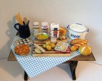 Dollhouse kitchen table, Baking Day, Miniature table, baking table, Cottage table, decorated table , A dollhouse item, twelfth scale