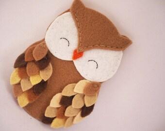 Personalized owl ornament - felt owl ornament - felt Christmas ornament - Christmas ornament - Shades of brown owl 2016