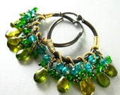 End Of Summer Sale Gemstone Hoops, Green and Blue Gemstone Oxidized Silver, Wire Wrapped Hoops