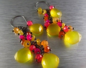 25% Off Summer Sale Yellow Chalcedony With Carnelianand Pink Quartz Gemstone Cluster Dangle Earrings - Fruit Punch