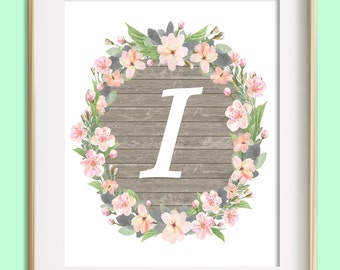 Letter I Printable, Instant Download, Baby Girl Nursery Wall Art, Girl Nursery Decor, Floral Monogram, Pink Mint Gray Letter Art, Baby Gift