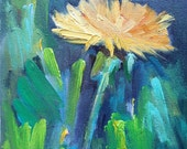 "Impressionist Dandelion Small Oil Painting, Flower Painting, Small Floral Painting, 6x8"" Oil Painting, Daily Painting, Reduced from 110.00"