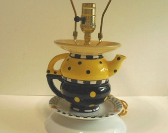 Poke a Dot Teapot Lamp, Yellow, Black, Checks, Childs Room Upcycle Table Lamp