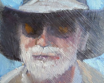 "Impressionist Portrait, Small Portrait, Daily Painting, Small Oil Painting, textured, 6x6"" oil on panel"