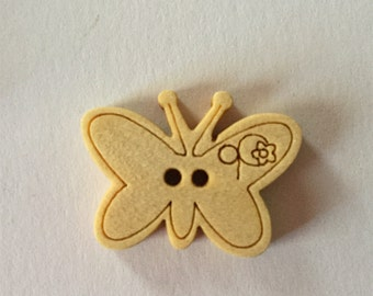 New Stock - Cute Butterfly Embossed Die Cut Wooden Buttons - Crafts, Novelty, Kids (6)
