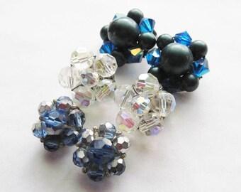 Three Pair Vintage Cluster Earrings