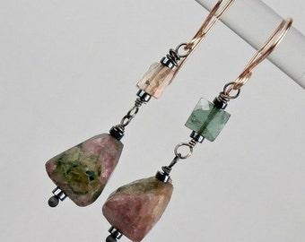 SUMMER SALE Tourmaline Dangle Earring Wire Wrap Oxidized SilverRose Gold Fill Earring Mixed Metal Raw Gemstone Mineral Jewelry Minimalist