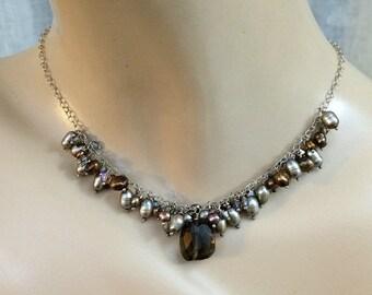 SUPER SALE 60% OFF Smokey Quartz Necklace Brass Fan Pearl Crystal Cluster Dangle Geometric Dangle Necklace