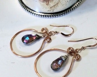 25% SALE Rose Gold Hoop Earrings Mystic Rainbow Quartz Wire Wrap Boho Chic Handmade Earrings Simple Everyday Bohemian Jewelry Rose Gold Blac