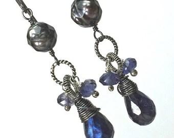 CUPID SALE Blue Gemstone Earring Blue Labradorite Spectrolite Sterling Silver Wire Wrap Handmade Earrings Laser Facet Pearl Gift f