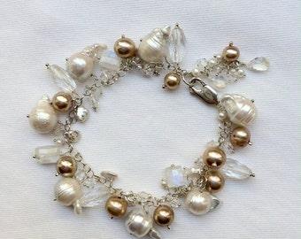 VALENTINES SALE Wedding Bracelet Bridal Jewelry Wire Wrap Keishi Pearl Bracelet Sterling Silver Nucleated Pearl Dangle Bracelet Moonstone Ch
