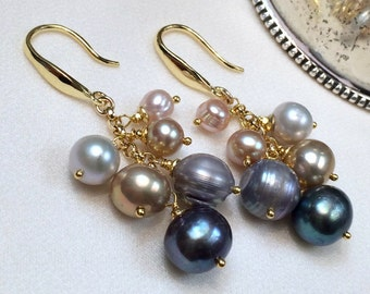 Pearl Cluster Earrings Shaded Pearl Earrings Wire Wrap Grey Black Champagne Blush Silver Freshwater Pearl Dangle Earrings