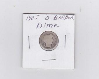 1905 O  Barber silver dime
