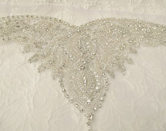 Crystal Rhinestone Applique for Sweetheart Neckline Strapless Bridal Dresses Wedding Gown
