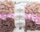 Seam Binding,Scrunched, Shabby Crinkled Ribbon, Brown,Pink Rayon Ribbon,Doll Making, French Vintage Supplies, Australia, Serendipity