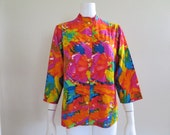 1960s Bright & Colorful Jacket/Shirt - Large, Extra Large - 46 in. Bust