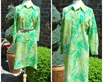 60s Novelty Print Green Shirtdress Daydress Day Shirtdress by Lady Bayard, Psychedelic Print, 60s, Mod