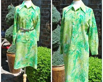Vintage 1960s Novelty Print Green Shirtdress Daydress Day Shirtdress by Lady Bayard, Psychedelic Print, 60s, Mod
