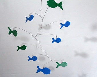 School of Blue and Green Fish Mobile  -  Kinetic Art Mobile Sculpture by Carolyn Weir 27w x 21t - P155