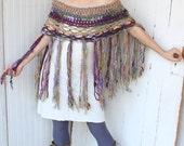 crochet pastel bohochic fringe cape/cowl