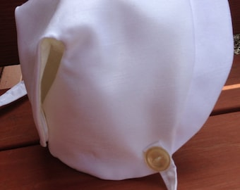 White Baby Boy Bonnet, Boy bonnet, Boy Hat, Easter Hat, Baby Boy Gift, White Bonnet, White Easter Bonnet, Medium Boy Bonnet