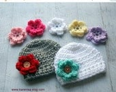 ON SALE Crochet Baby Hat, Infant Crochet Hat, Baby Girl Hat, 7 Interchangeable Flowers, Hat with Flowers, You Choose Hat Colors, MADE To Ord