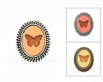 Butterfly Ring - Laser Engraved Wood in Adjustable Oval Setting (choose your color / custom made jewelry)