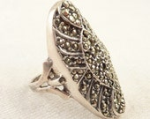 RESERVED for Zoe ============= Size 8.5 Vintage Sterling and Marcasite Art Deco Oval Ring