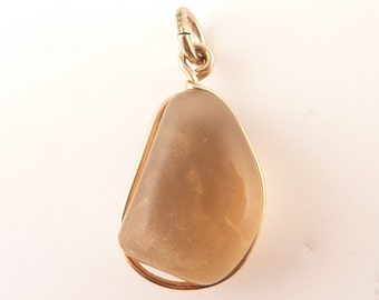 Antique Smooth Quartz 10K Gold Wire Charm or Pendant