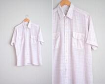 Size L // PINK WINDOWPANE OXFORD // Graph Paper Pattern - Short Sleeve Button-Up Shirt - Lightweight - Vintage Men's.