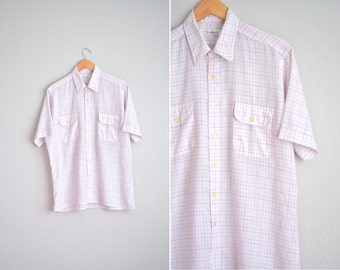 Size L // PINK WINDOWPANE OXFORD // Graph Paper Pattern - Short Sleeve Button-Up Shirt - Lightweight - Vintage Men's.