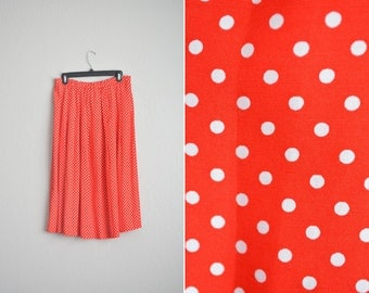 Size 10/12 (L) // POLKA DOT MIDI Skirt // Rayon - Pleated - Elastic Waist - Belt Loops - Vintage '80s Evan-Picone.