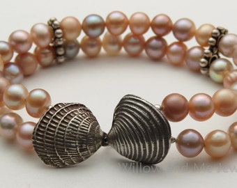 Double Strand Pearls and Shells Bracelet