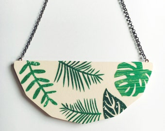 Foliage Necklace in Pink - monstera leaf, palm leaf, fern leaf