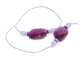 Beaded Bookmark, Purple, Book Thong, Purple Bookmark, Flag Beads, Gift, Red Bookmark,