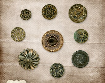 Vintage Buttons Vol 1 - Digital Scrapbooking - Elements, 9 Vintage Shabby Buttons - Commercial Use - INSTANT DOWNLOAD - 3.75