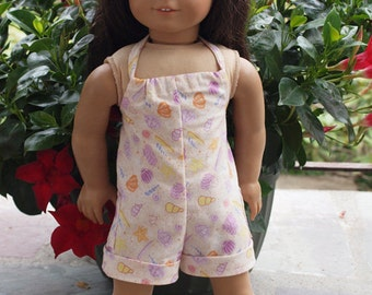 18 inch Dolls Clothes -  Girl Doll Clothes - Beach Theme - Romper - Summer