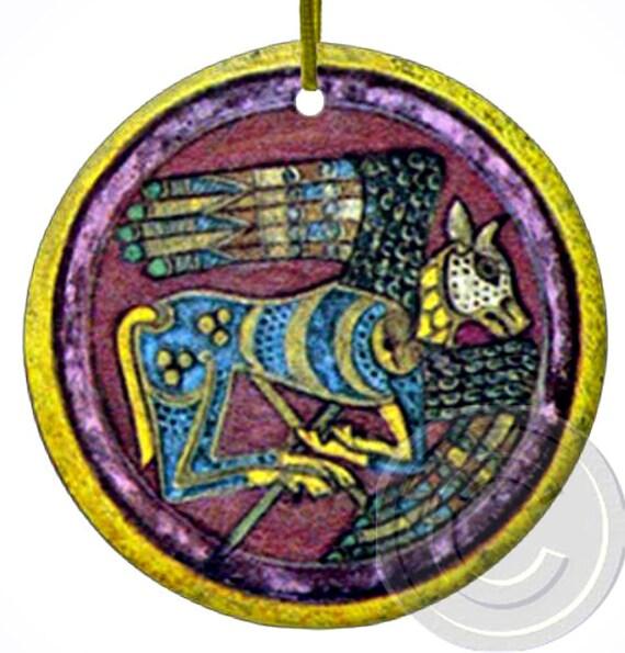 Book Of Kells Celtic Calf Irish Porcelain Ornament