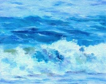 Beach Blues, 6x6 Oil on Canvas, Surf Art, Daily Painting, Beach Decor, Blue and White